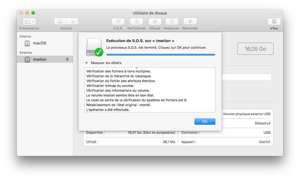 reparer une cle usb sur mac processus S.O.S