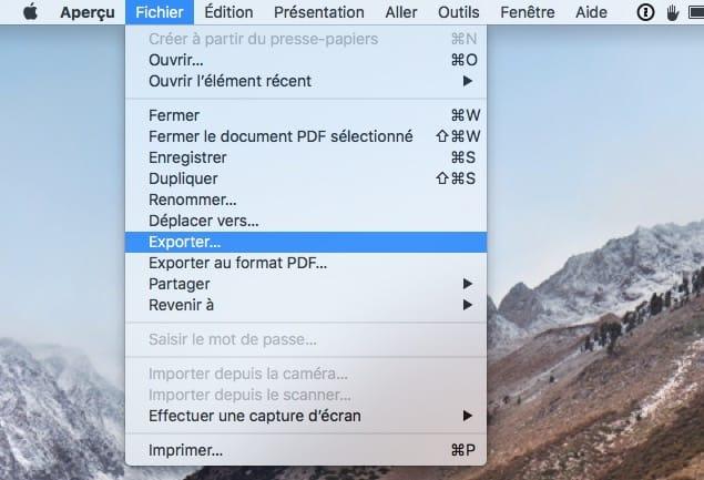Compresser un fichier PDF sur Mac Exporter