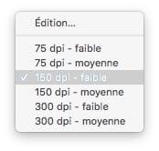 Compresser un fichier PDF sur Mac choisir une resolution