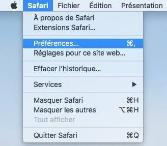 Gerer les mots de passe Safari Mac preferences