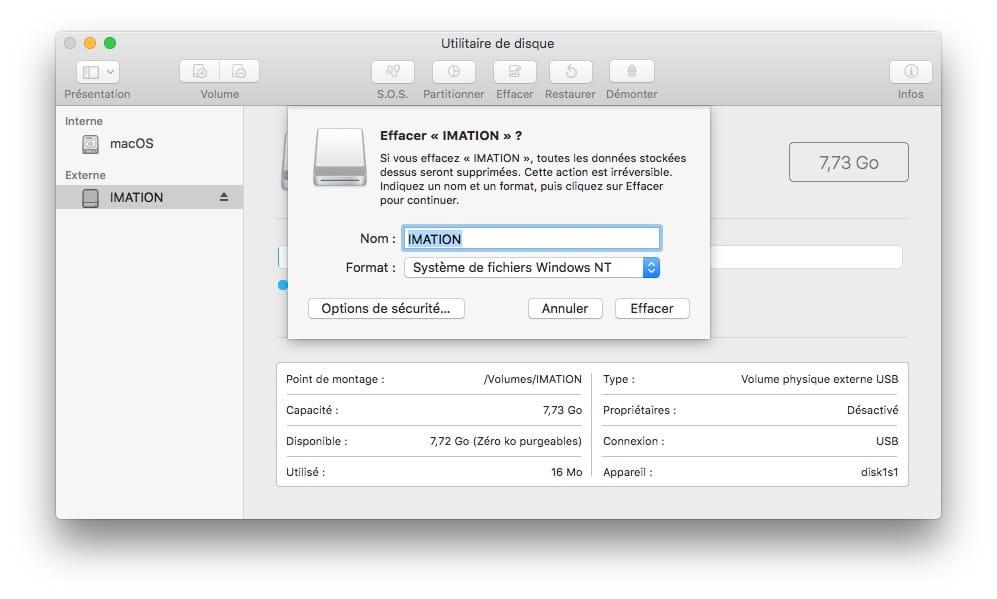 Formater une cle USB sur Mac en ntfs