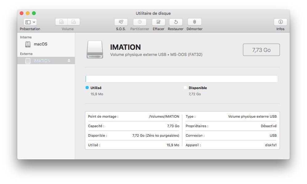 Formater une cle USB sur Mac ms-dos fat32