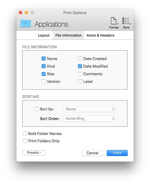 Imprimer une fenetre du Finder sur Mac liste icone