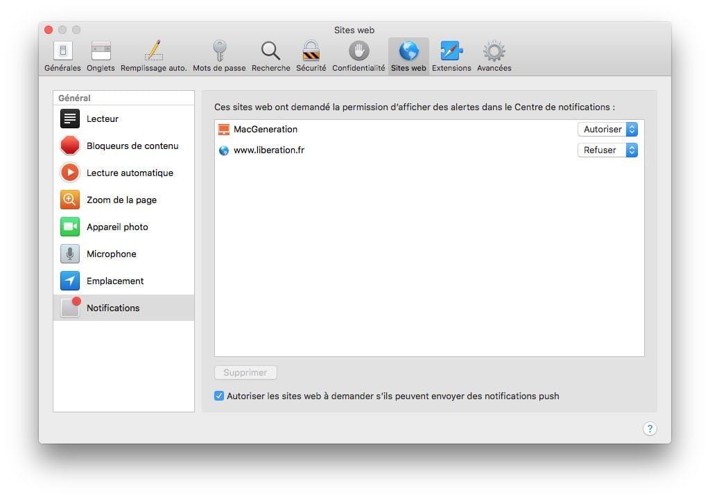 Desactiver les alertes dans Safari onglet sites web et notifications