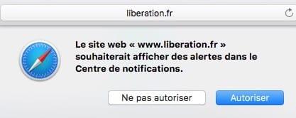 Desactiver les alertes dans Safari souhaiterait afficher des alertes dans le Centre de notifications