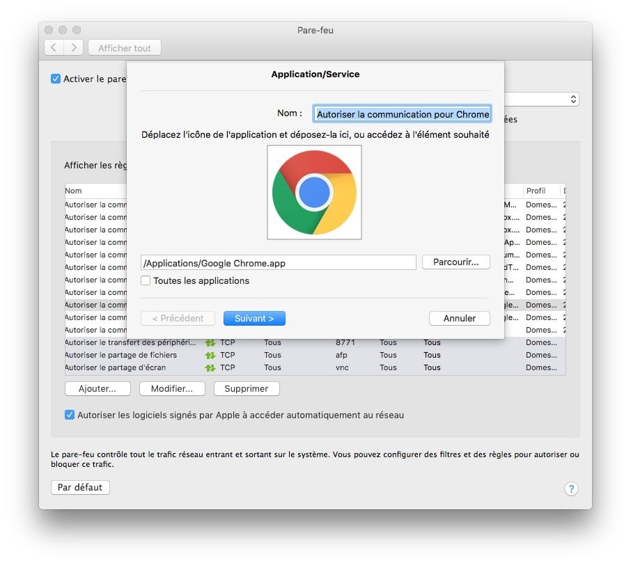 firewall mac modifier regles de filtrage
