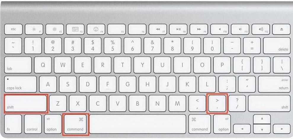 Afficher les fichiers cachés macOS avec un raccourci clavier anglais US