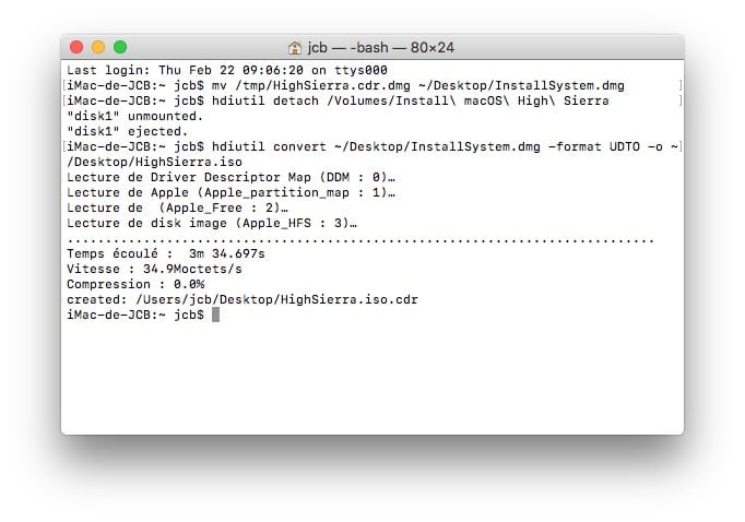 Graver macOS High Sierra sur un DVD cdr vers iso