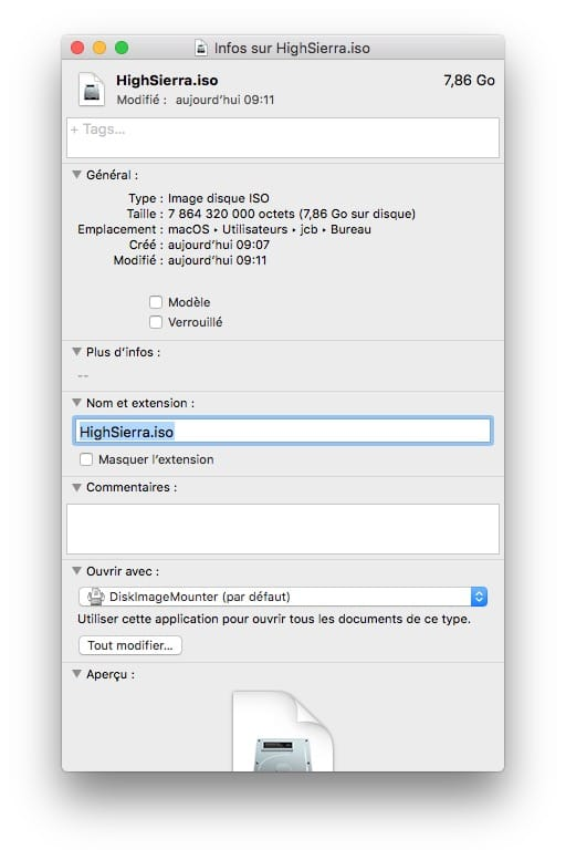 Graver macOS High Sierra sur un DVD en ISO