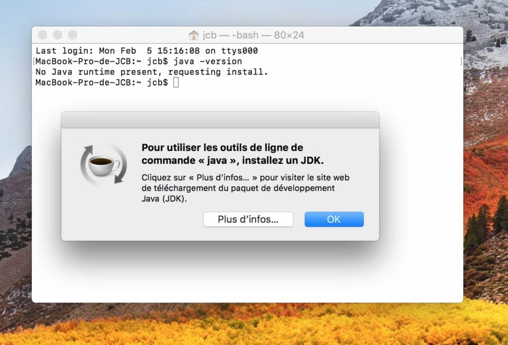 Installer Java macOS High Sierra version java 9