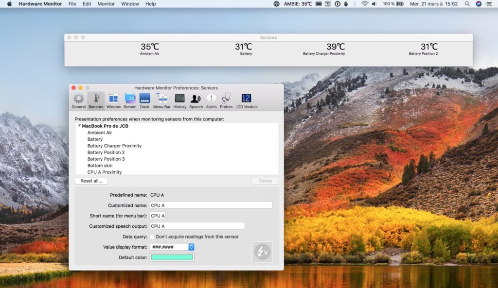 Afficher la temperature de son MacBook avec HardWare Monitor