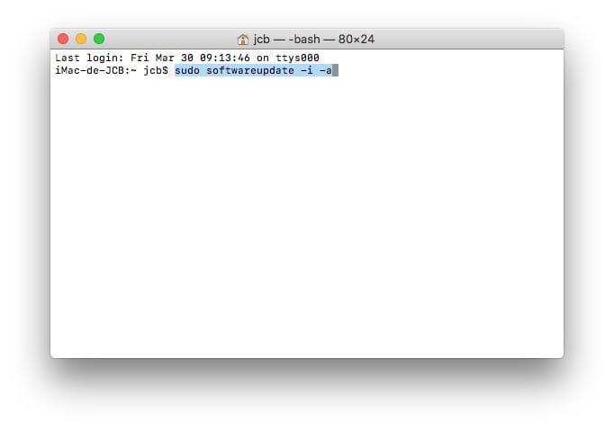 Mettre a jour son Mac avec le Terminal softwareupdate -i -a