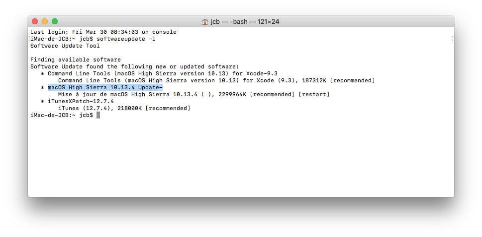 Mettre a jour son Mac avec le Terminal softwareupdate -l