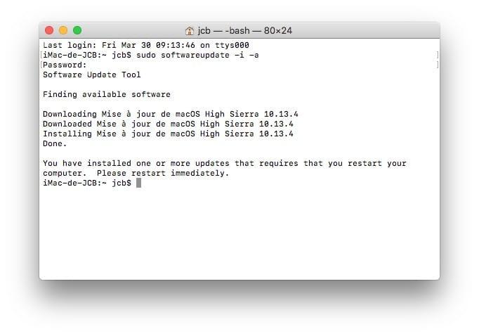 Mettre a jour son Mac avec le Terminal telechargement et installation