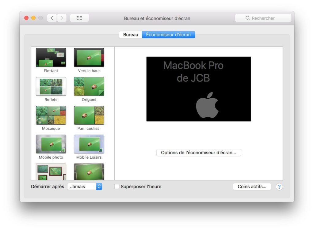 Mettre son macbook en veille economiseur ecran