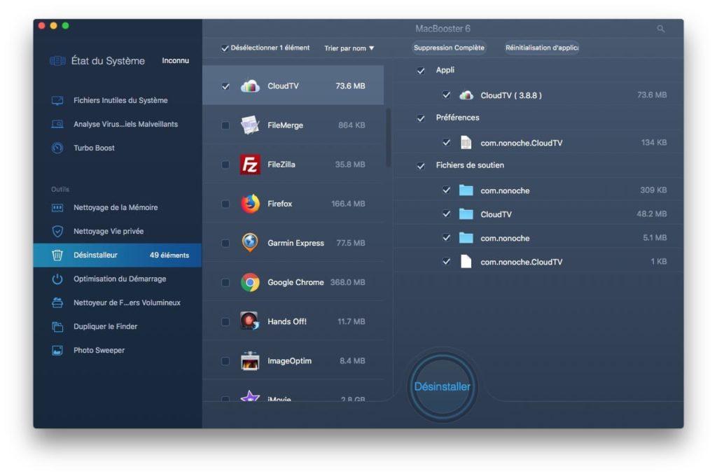 Desinstaller une app sur Mac avec MacBooster 6