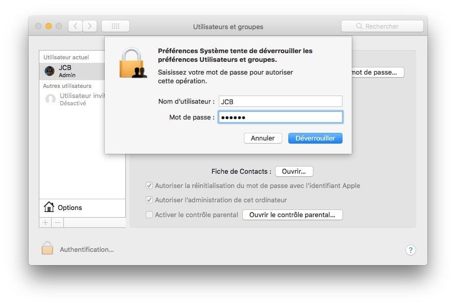 Changer le nom du compte utilisateur sur Mac deverrouiller prefrences utilisateurs et groupes