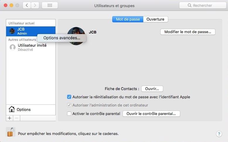 Changer le nom du compte utilisateur sur Mac options avancees