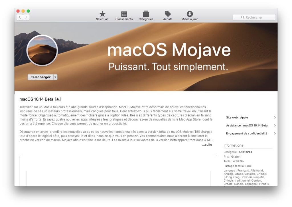 telecharger macos mojave pour faire Cle USB bootable de macOS Mojave