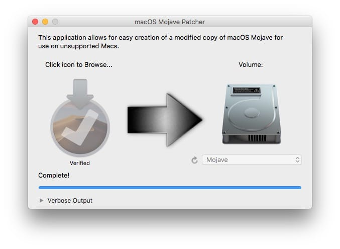 Installer macOS Mojave sur un Mac non compatible creation complete