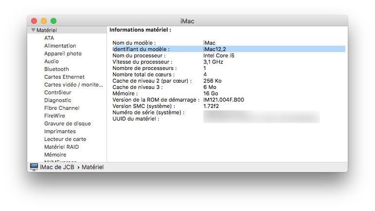 Installer macOS Mojave sur un Mac non compatible identifiant du modele
