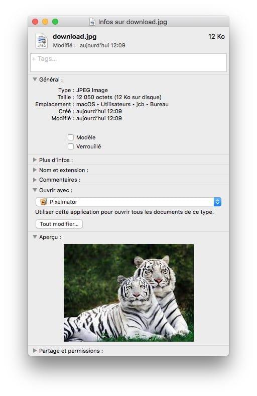 Choisir une application pour ouvrir un fichier sur Mac JPG avec Pixelmator ou Photoshop