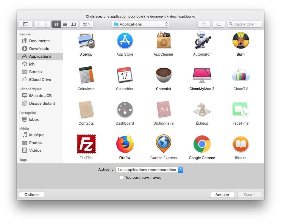 associer fichier avec app sur macos