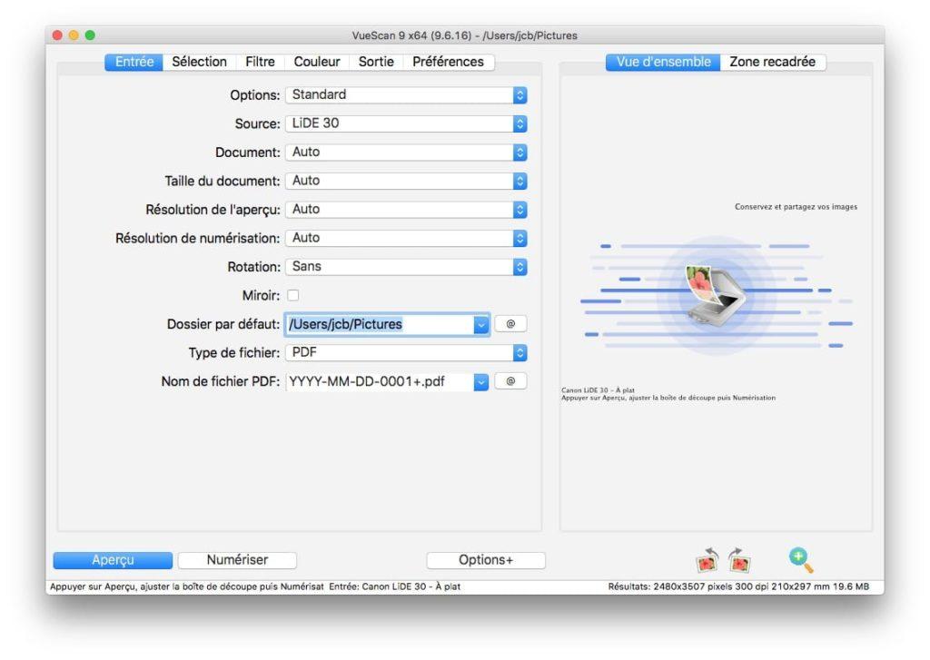 installer un scanner sur Mac avec VueScan