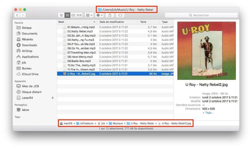Afficher le chemin dacces dun fichier sur Mac haut bas du finder