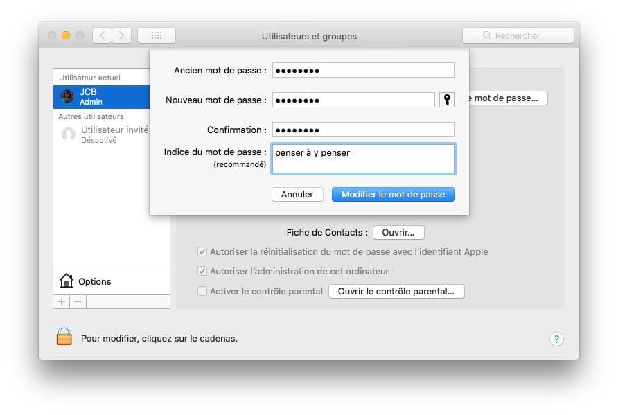 Changer le mot de passe de son Mac nouveau mot de passe