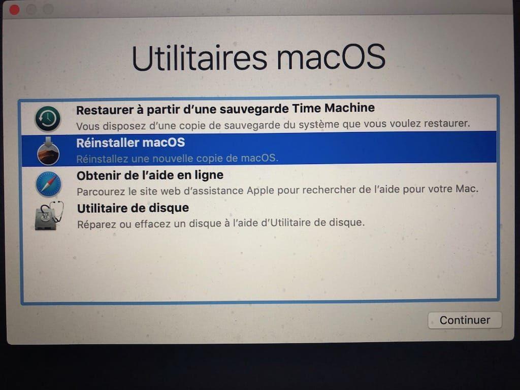Reinstaller macOS Mojave Reinstaller une nouvelle copie de macOS