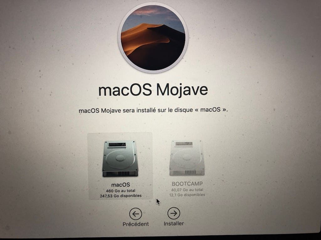Reinstaller macOS Mojave disque de demarrage