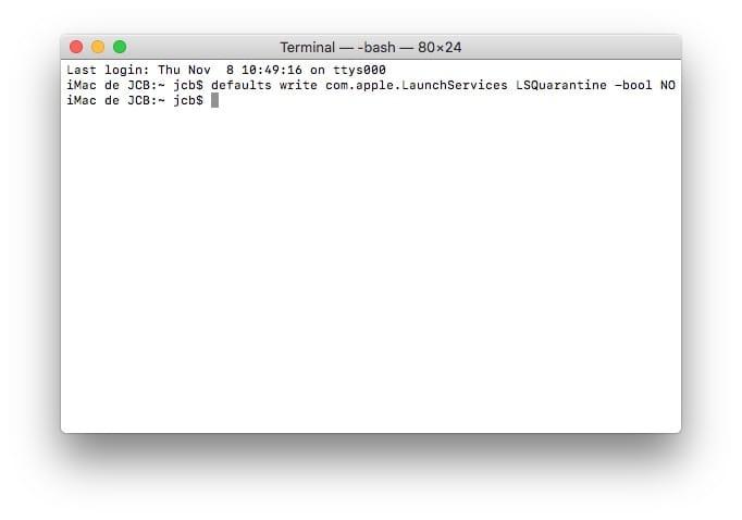 Desactiver la verification pour un fichier PKG sur Mac Terminal LSQuarantine