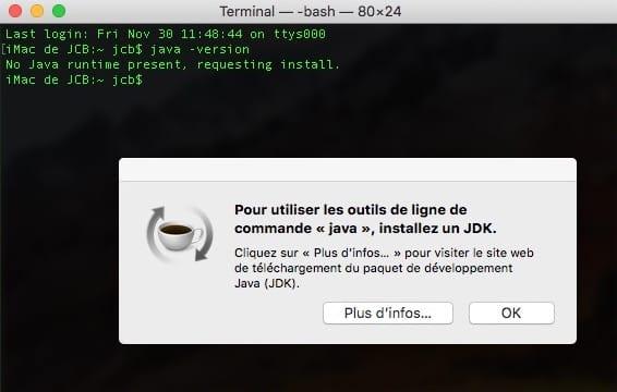 Installer Java macOS Mojave avec le Terminal Mac