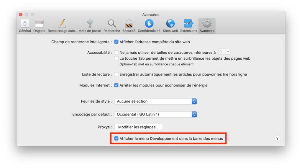 Afficher le menu développement de Safari dans la barre des menus