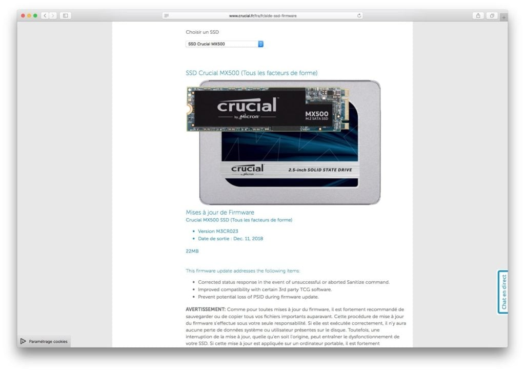 Mettre a jour le firmware dun SSD sur Mac Crucial MX500