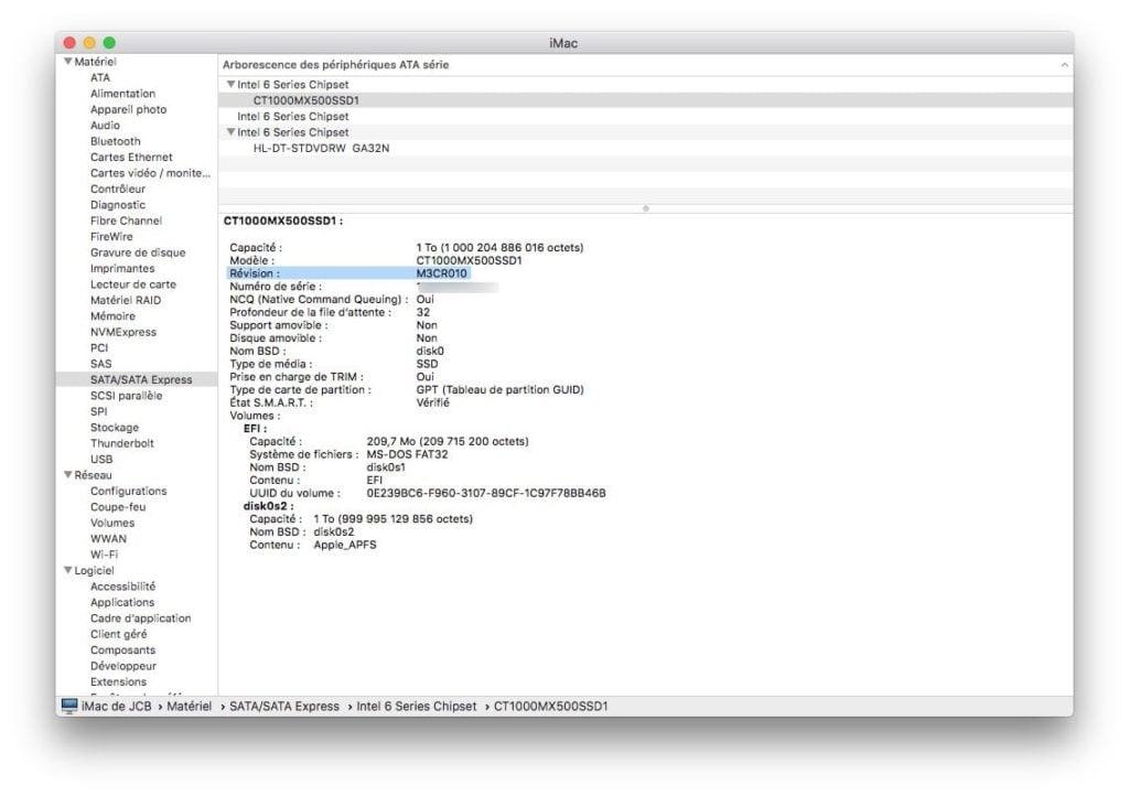 Mettre à jour le firmware d'un SSD sur Mac verifier firmware actuel