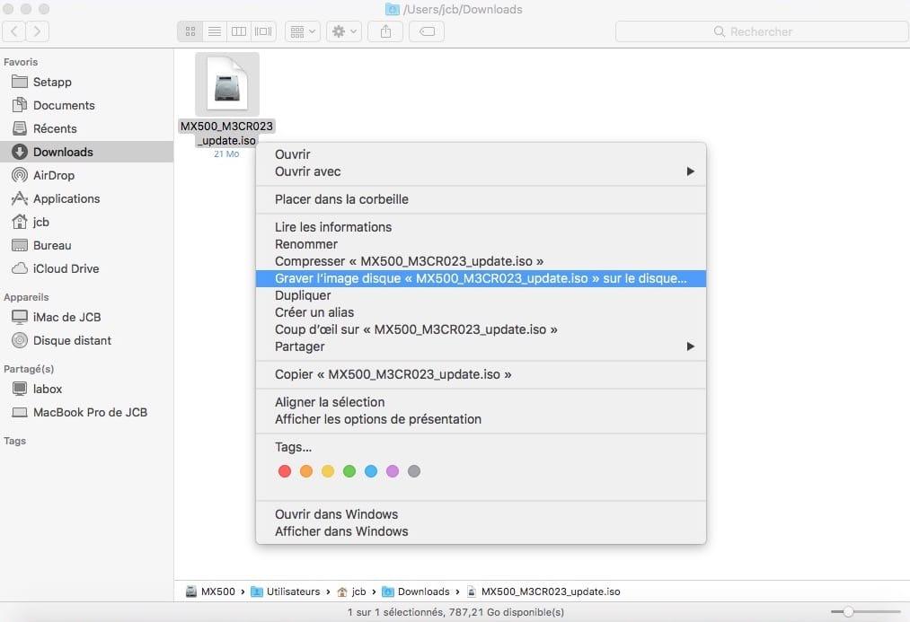 graver ISO firmware SSD sur mac