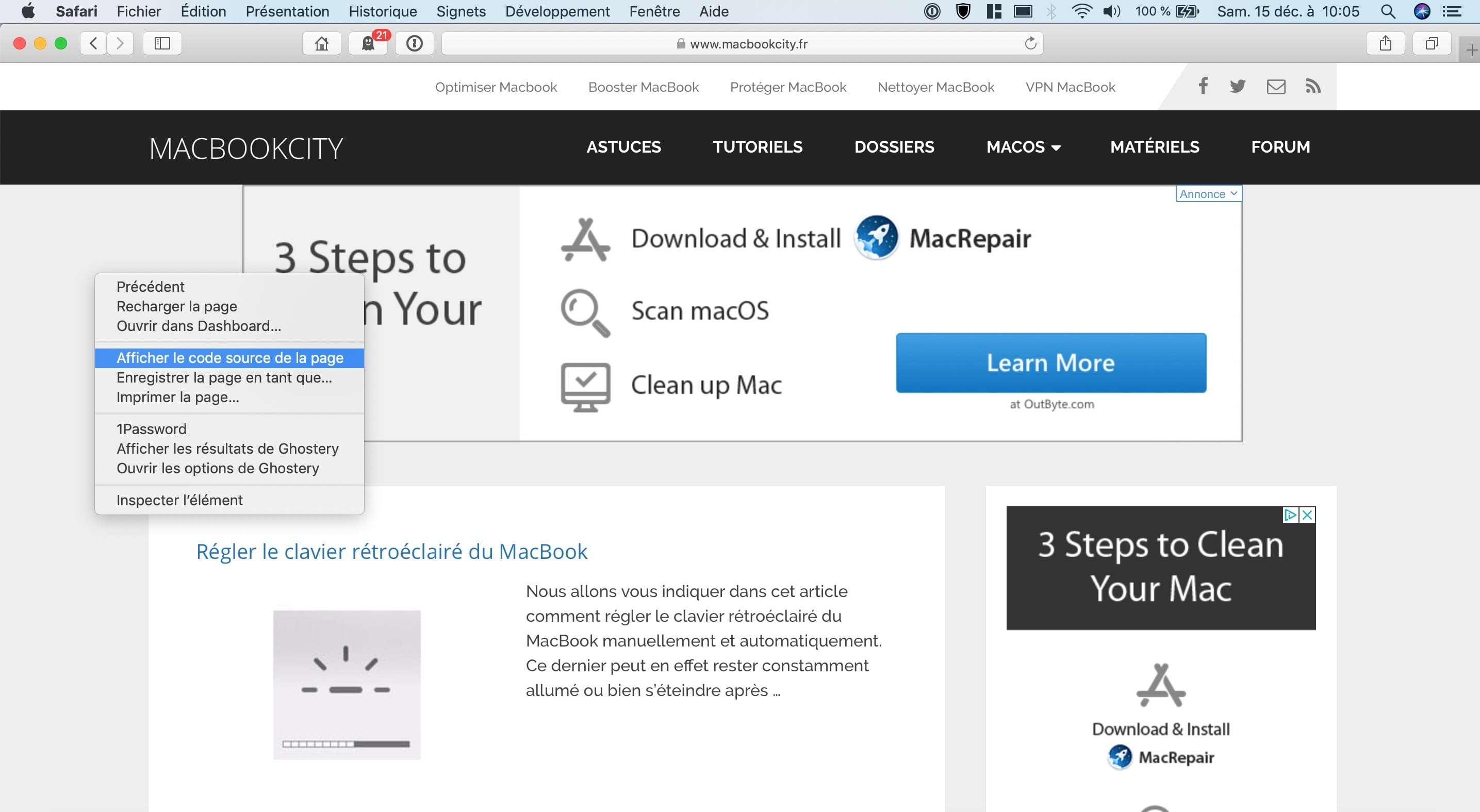 How to view a page HTML source code in Safari on Mac