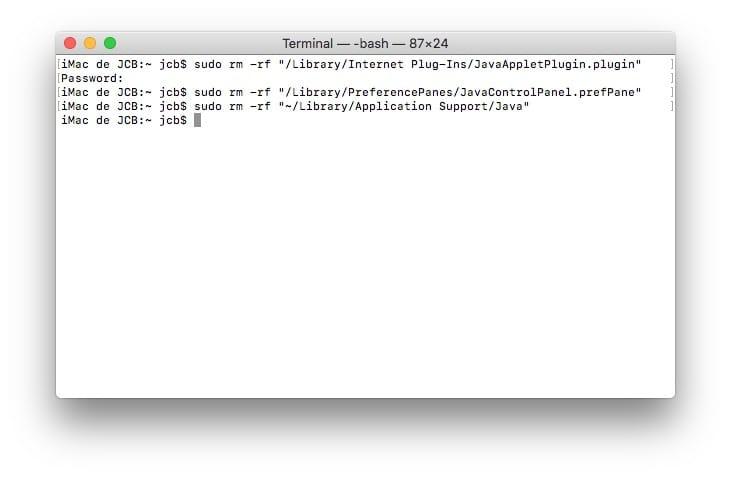 supprimer java mac completement