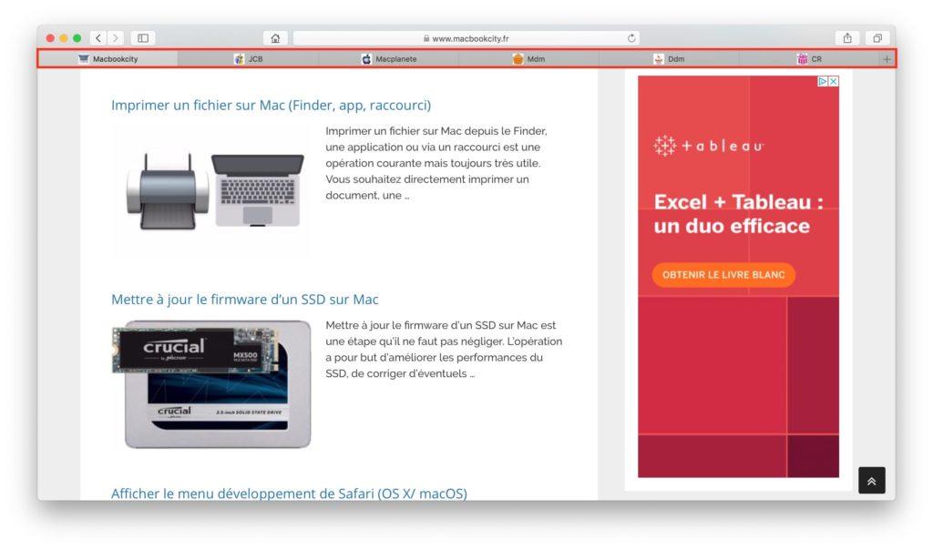 Afficher les favicons des sites avec Safari Mac avec favicons actifs