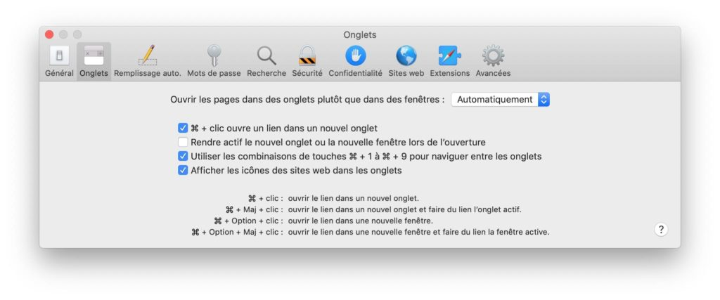 Afficher les favicons des sites avec Safari Mac option
