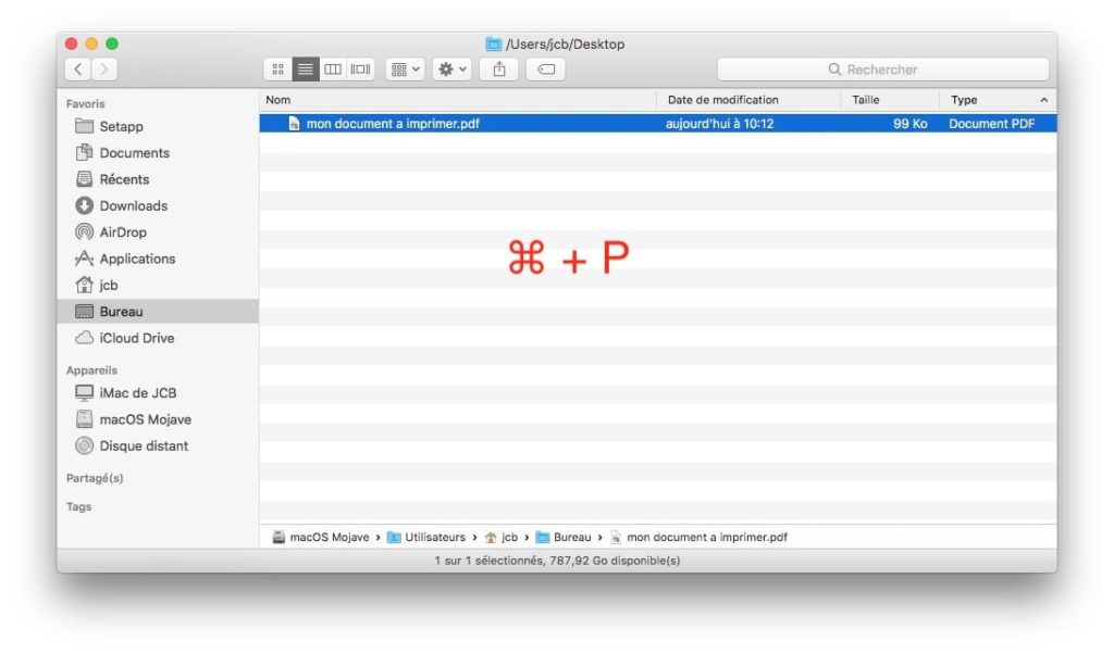 Imprimer un fichier sur Mac cmd + Pp