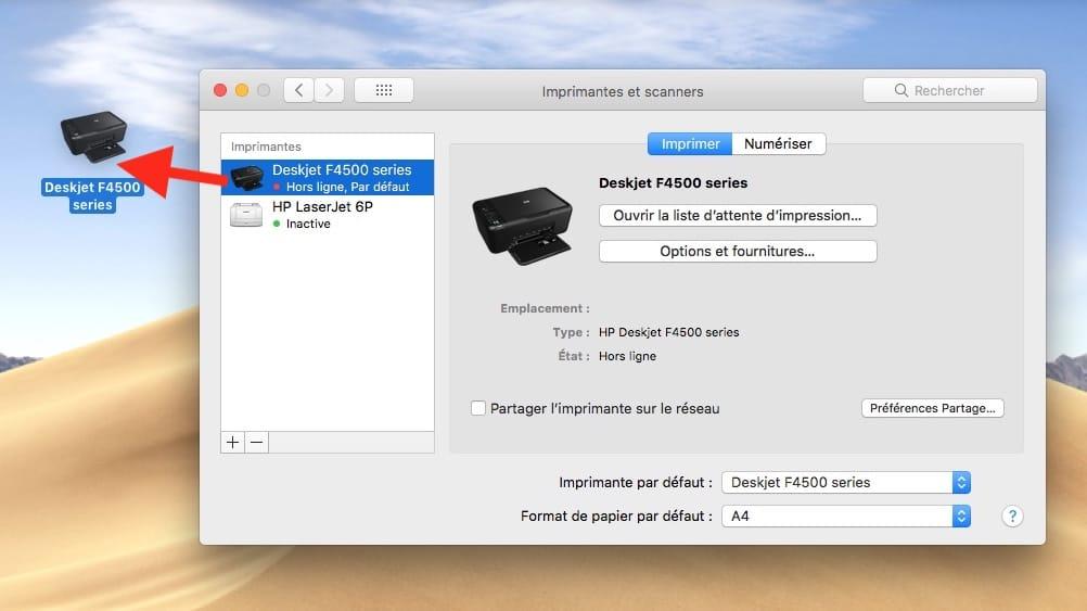 Imprimer un fichier sur Mac glisser deplacer imprimante sur Bureau