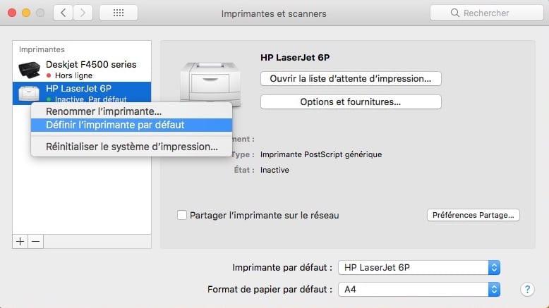 Imprimer un fichier sur Mac imprimante par defaut