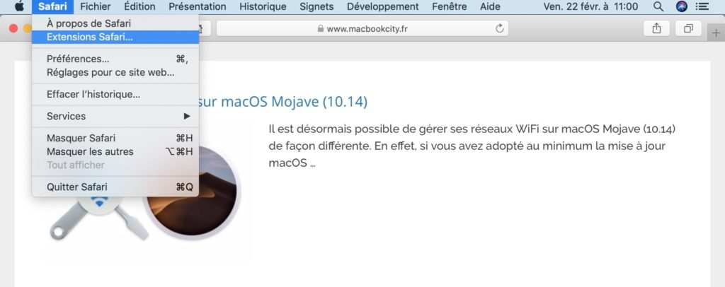 installer une extension Safari Mac
