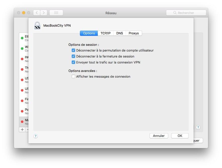 VPN Mac envoyer tout le trafic sur la connexion VPN