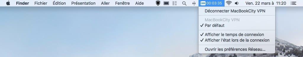 etat VPN barre de menus Mac