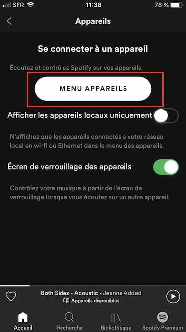 spotify ios 12 menu appareils
