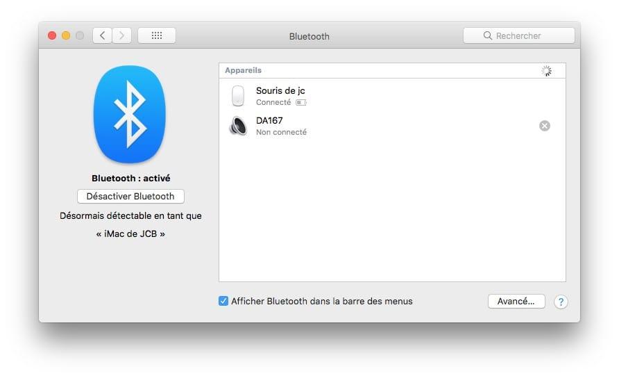 supprimer appareil BT Mac